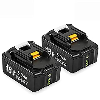 Mrupoo Compatible BL1850B 18V 5.0Ah Lithium Battery Replacement Compatible with MakitaBL1830B BL BL1850 BL1850B BL1860B 196399-0 196673-6 LXT-400 Cordless Power Tool with LED Charge Indicator(2 Pack)