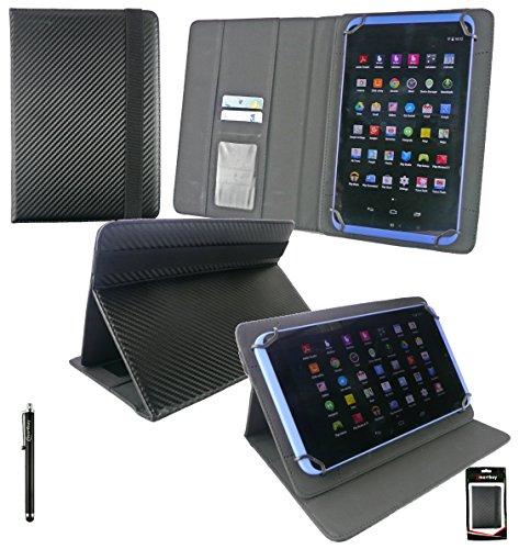 Emartbuy® Schwarz Eingabestift + ZTE Light 8 Tablet 7.85 Zoll Universalbereich ( 8 - 9 Zoll ) Schwarz Carbon PU LederMulti Angle Exekutiv Folio Mappen Kasten Abdeckung mit Kartensteckplätze