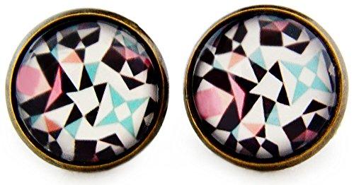 Miss Lovie Damen Ohrstecker Kaleidoskop Ohrringe Cabochon 12mm Modeschmuck Pink Blau Bronze