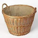 Weidenprofi Weidenkorb mit Jute, Holzkorb aus Heller Weide, rund mit Henkel, ca. Ø 48 cm x 35 cm hoch