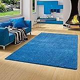 Palace Hochflor Shaggy Teppich Blau in 24 Größen