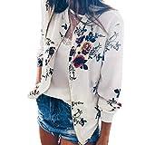 YOUBan Hoodies Damen Retro Floral Reißverschluss bis Bomber Jacke Lässiger Mantel Outwear Kapuzenpullover Sweatshirt Sweater Sexy Tracksuit Herbst Mantel Bluse