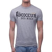BOXEUR DES RUES Sèrie Exclusive, T-Shirt Logo Bandiera Francese Uomo, Grigio (Melange), L