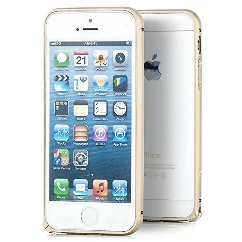 Saxonia Aluminium Bumper Apple iPhone SE 5 5S Ultra Slim Alu Case Schutz Hülle Rahmen (mit Klinke) Grau Gold
