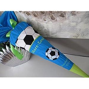 Fussball blau türkis grün Schultüte Stoff + Papprohling + als Kissen verwendbar