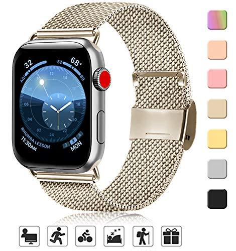 AK kompatibel mit Apple Watch Armband 38mm 40mm 42mm 44mm, Metall Edelstahl Ersatzarmband kompatibel mit iWatch Series 5/4/3/2/1 (05 Champagner, 38mm/40mm)