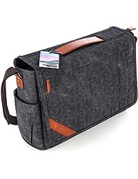 Große Umhängetasche für Herren + Laptop Tasche 15.6 Zoll [2018 DESIGN] Messenger Bag Kuriertasche, Schultertasche von höchster Qualität [GERMAN BRAND] für Arbeit, Uni, Reise, Sport (dunkelgrau)