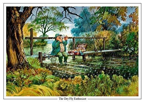 'the dry fly enthusiast thelwell. grande a5a tema pesca alla trota biglietto d' auguri con busta. great gift accessorio per il pescatore