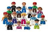 Play Build Community Figures Set - 16 Stück - Bulk Starter Kit beinhaltet Polizei Man, Farmer, Feuerwehrmann, Dirigent, Mama, Papa, Opa, Kinder & Mehr - Kompatibel mit Lego Duplo Bausteinen