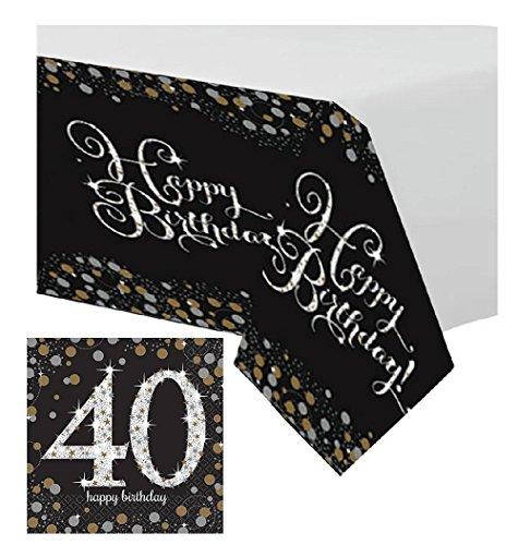 Feste Feiern Tischdekoration 40. Geburtstag   17 Teile Deko-Set Tischdecke Servietten Gold Schwarz Silber Party Set Happy Birthday 40