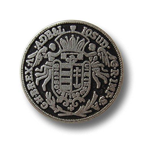 Knopfparadies - 6er Set besonders beeindruckende flache Münz Metall Knöpfe mit Wappen, Krone & Engeln / altsilberfarben, geschwärzt / Metallknöpfe / Ø ca. 16mm - Wappen-knöpfe