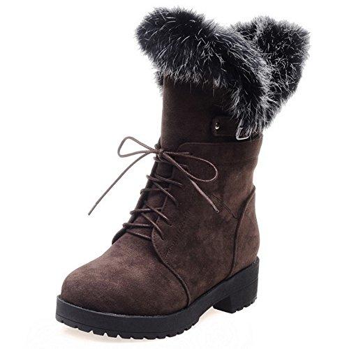 COOLCEPT Damen WildleDer Flache lässige Schuhe Schnürung Winter Martin Stiefel Mit Fell Braun