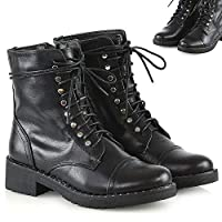 Womens Lace Up Studded Ankle Boots Ladies Black Combat Military Booties Shoes