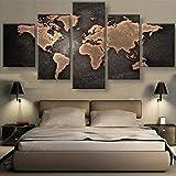 Haihuic Pittura a Olio di Arte della Parete di 5 Pannelli Stampe Picture Map World su PVC, Moderna Grafica giclée Senza Cornice per la Decorazione Domestica Unframed