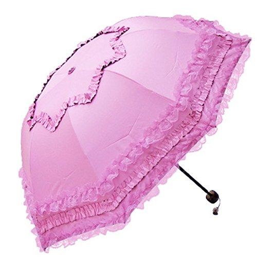 Dyewd ombrello,ombrello moda pizzo, ombrellone pieghevole per esterno estivo, ombrello uv protezione solare, ombrello vinilico da donna, doppio ombrello di alta qualità, rosa