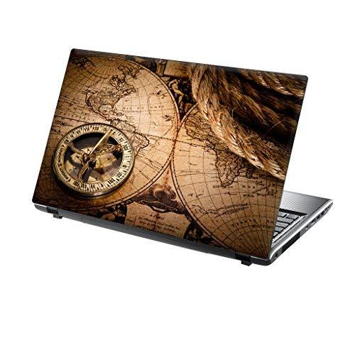 TaylorHe Schutzfolie für Laptops mit 39,6 cm (15,6 Zoll) / 38,1 cm (15 Zoll), Vinyl, mit bunten Mustern und Ledereffekt, hergestellt in Großbritannien Ocean Map