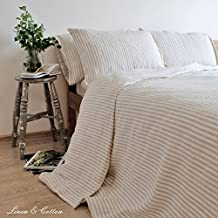Linen & Cotton Set Copripiumino in Lino Lavato (Stonewashed), A Righe (200 x 200cm, Double)