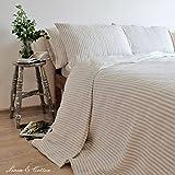Linen & Cotton Set de Housse de Couette Rayé AUDREY, 100% Lin Lavé - 220 x 230cm (King)