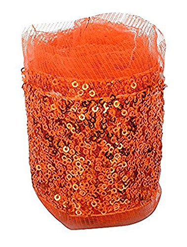 Fashion Sequence Net Laces for Dresses/Sarees/Lehenga/Suits/Caps/Bags/Decorations/Borders/Crafts - Orange - Combo Pack of 2 Meters