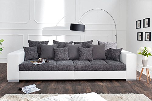 Design XXL Sofa BIG SOFA ISLAND in weiß grau charcoal Strukturstoff inkl. Kissen - 3