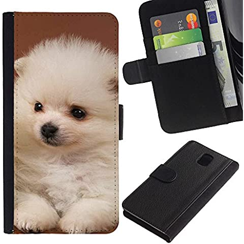 OMEGA Case / Samsung Galaxy Note 3 III N9000 N9002 N9005 / white puppy japanese spitz volpino italiano / Cuero PU Delgado caso Billetera cubierta Shell Armor Funda Case Cover Wallet Credit Card