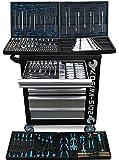 XXL Werkstattwagen Werkzeugwagen schwarz - 7 von 7 Schubladen gefüllt mit Werkzeug - rollbar