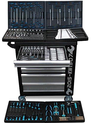 Preisvergleich Produktbild XXL Werkstattwagen Werkzeugwagen schwarz - 6 von 7 Schubladen gefüllt mit Werkzeug - rollbar