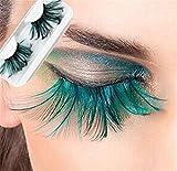 Miya - Fantastiche ciglia finte con piuma blu super morbida, ciglia finte, ciglia finte, piume decorative, per feste, carnevale, palcoscenico, Halloween