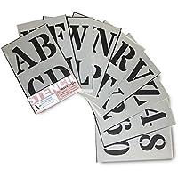 Plantillas del Alfabeto – 10 cm de altura – Alphabet y Números 0-9, Mayúsculas Roman – en 9 hojas de 295 x 200mm