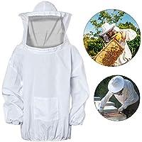 FEIGO Imkerjacke, Professionelle Bienenschutz, Imkerhut mit abnehmbarem Schleier, Bienenanzug mit Reißverschluss für Bienenzüchter Bee Keepers (Weiß)