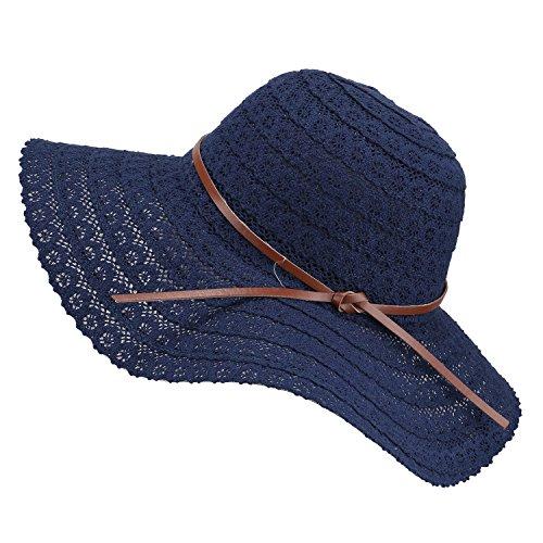 Damen Faltbarer Sonnenhut UPF Flexible Sommer Strand Strohhut mit Sonnenschutz breite Krempe Damen Mode Hut aus Baumwolle, Blau, Einheitsgröße