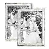 Photolini 2er Set Bilderrahmen Pastell/Alt-Weiß Silber 20x30 cm Massivholz mit Vintage Look/Fotorahmen/Wechselrahmen