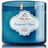 Bath And Body Works Bergamot Waters Candle Large 3 Wick 14.5 Oz White Barn Candle Co. Bergamot Sandalwood Scent