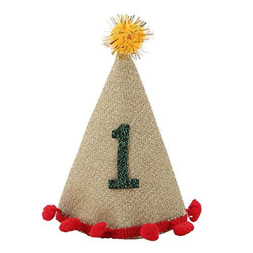 Spitzen Hund Hut, einstellbare dekorative glänzende Spitze Haustier Hut Mütze mit Haarballen für Hund(1# + Champagner) (Dekorative Hüte Spitze)