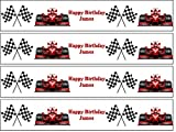 Red Racing Car and Chequered Flag Edible Icing Ribbon Cake Side Strips[Please use the 'Gift Option' or the 'Contact Seller' in the 'Your Orders' section of Amazon to tell us the name required on your strips.]