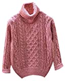 Fuxiang Grobstrick Pullover Damen Hoher Kragenpullover Zopfpullover Rollkragenpullover Grob Strick Pullis Edle Frauen Pullover Mantel Strickpullover Winter Herbst Rosa