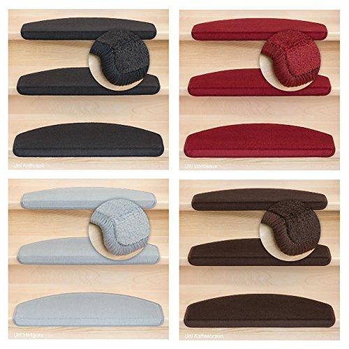 Kettelservice-Metzker® Stufenmatten Vorwerk Uni Antares Halbrund 65x24x4cm Anthrazit 15 Stück