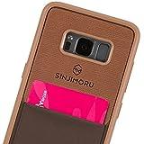 SINJIMORU Galaxy S8 Handyhülle mit Kartenfach, Galaxy S8 dünnes TPU Case mit Kartenhülle / S8 Wallet Case / S8 Bumper mit aufklebbarem Kartenhalter. Sinji Pouch Case für Samsung Galaxy S8, Braun.