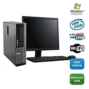Lot PC DELL Optiplex 790 SFF Pentium G840 2.8Ghz 4Go 500Go WIFI W7 Pro +Ecran 19