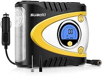 Suaoki B24A - Compresseur d'air portable numérique avec LED (12V DC 100 PSI, encodeur de programmation avancée de haute précision des pneus, des objets Gonflables)