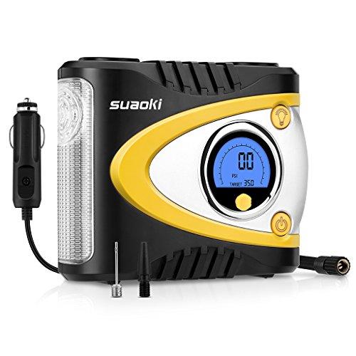 Suaoki B24A - Compresor de Aire Digital Portátil con Luz LED (12V DC, 100 PSI, Pantalla Grande, Para Neumáticos, Objetos Inflables)