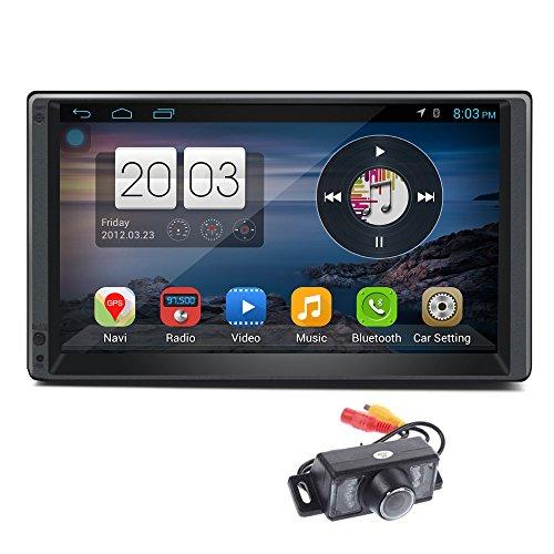 Caméra de recul + 17,8cm double DIN Android 5.1stéréo de voiture Écran tactile capacitif Quad Core Autoradio Système de navigation GPS support radio (AM/FM) Tuner RDS Port USB Bluetooth vidéo 1080p Miroir Link Résolution de 1024* 600