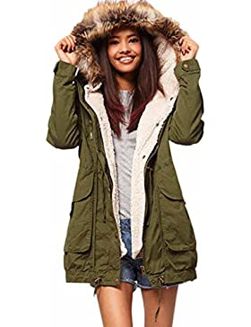 Abrigos de Invierno Mujer Hoplsen Parka Elegante Jersey Caliente Con Capucha Chaqueta de Manga Larga Abrigo de...