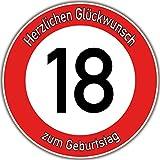 Tortenaufleger Fototorte Tortenbild Warnschild 18. Geburtstag rund 14 cm GB03 (Zuckerpapier)