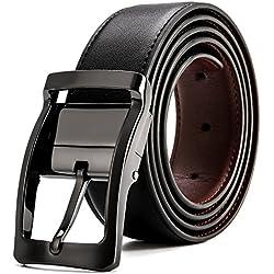 MUCO Cinturón de cuero para hombres Negro Hebilla Pulida Giratoria