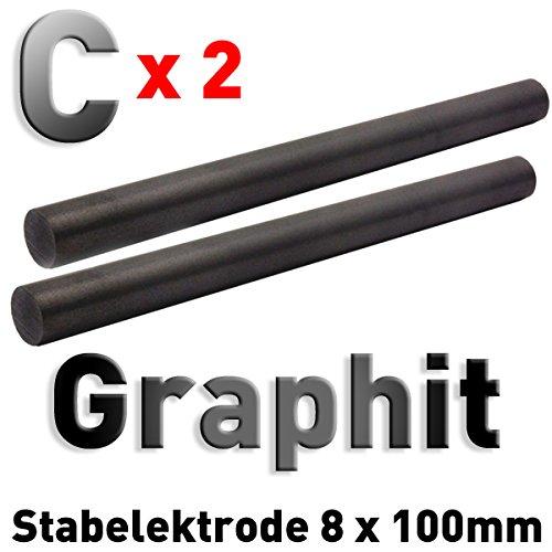 2 Stück Graphit-Stab-Anoden/Elektroden (100 x 8 mm) für Stiftgalvanik Tampongalvanik 10cm (Graphit-stab)