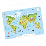 nikima - Kinder Weltkarte 3D in 3 Größen A3/ A2/ A1 Poster Plakat Tiere Erde Wandbild Kinderzimmer schöne Wanddeko Kontinente niedliche Tiere - DIN A3-420 x 297 mm