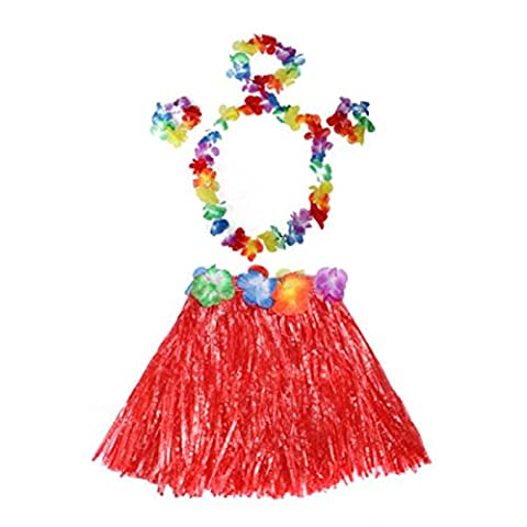 HuaYang Blumen Hula Gras Rock Phantasie Kurz Kleid Armband Kostüm Rock für Kinder Mädchen(Rot)
