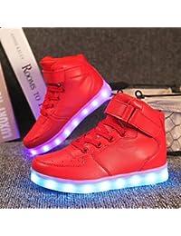 aemember niños 'zapatillas comodidad zapatos de luz hasta otoño invierno ETTE–Zapatos de Senderismo Athletic Casual al aire libre gancho & loop LED de bajo talón oro blanco, US1 / EU32 / UK13 Little Kids, Rojo