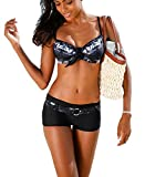 AHOOME Damen Bademode Bikini-Sets Push-up Gepolstert Drucken Mit Shorts(Black,L)